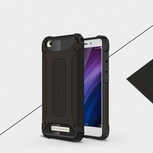 Двухкомпонентный силиконовый матовый непрозрачный чехол с поликарбонатными бампером и крышкой для Xiaomi RedMi 4A Черный