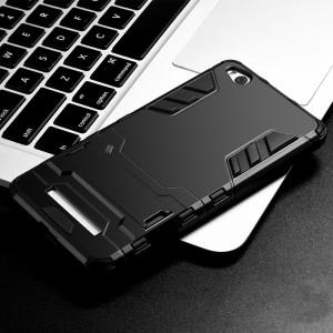Двухкомпонентный силиконовый матовый непрозрачный чехол с поликарбонатными бампером и крышкой и встроенной ножкой-подставкой для Xiaomi RedMi 4A Черный