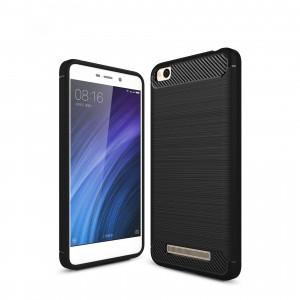 Силиконовый матовый непрозрачный чехол с текстурным покрытием Металлик для Xiaomi RedMi 4A Черный