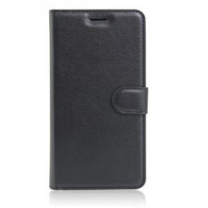 Чехол портмоне подставка на силиконовой основе с отсеком для карт на магнитной защелке для ZTE Blade L5 Черный