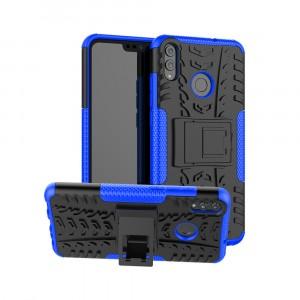 Антиударный двухкомпонентный силиконовый матовый непрозрачный чехол с нескользящими гранями, улучшенной защитой элементов корпуса и встроенной ножкой-подставкой для Huawei Honor 8X Синий