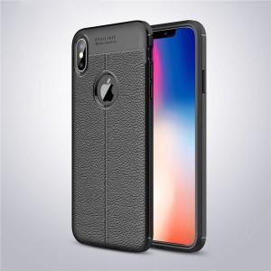 Силиконовый матовый непрозрачный чехол с текстурным покрытием Кожа для Iphone Xs Max Черный