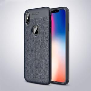 Силиконовый матовый непрозрачный чехол с текстурным покрытием Кожа для Iphone Xs Max Синий