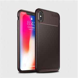 Силиконовый матовый непрозрачный чехол с текстурным покрытием Карбон для Iphone Xs Max Коричневый