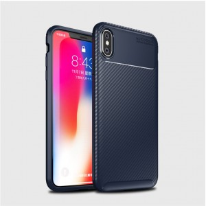 Силиконовый матовый непрозрачный чехол с текстурным покрытием Карбон для Iphone Xs Max Синий