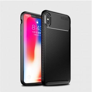 Силиконовый матовый непрозрачный чехол с текстурным покрытием Карбон для Iphone Xs Max Черный