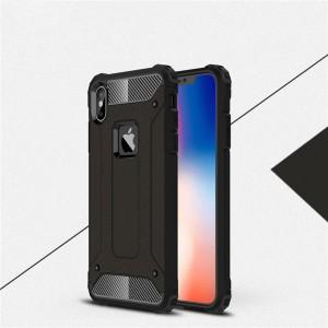 Двухкомпонентный силиконовый матовый непрозрачный чехол с поликарбонатными бампером и крышкой для Iphone Xs Max Черный