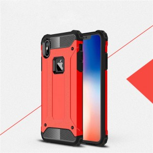 Двухкомпонентный силиконовый матовый непрозрачный чехол с поликарбонатными бампером и крышкой для Iphone Xs Max Красный