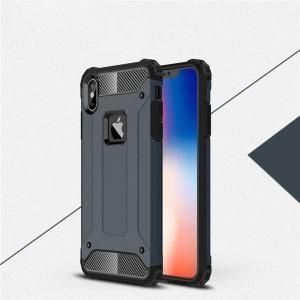 Двухкомпонентный силиконовый матовый непрозрачный чехол с поликарбонатными бампером и крышкой для Iphone Xs Max Синий