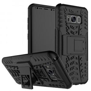 Противоударный двухкомпонентный силиконовый матовый непрозрачный чехол с поликарбонатными вставками экстрим защиты с встроенной ножкой-подставкой и текстурным покрытием Шина для Samsung Galaxy S8 Черный