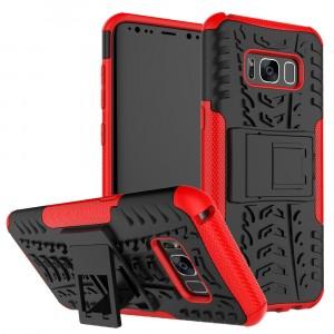 Противоударный двухкомпонентный силиконовый матовый непрозрачный чехол с поликарбонатными вставками экстрим защиты с встроенной ножкой-подставкой и текстурным покрытием Шина для Samsung Galaxy S8 Красный