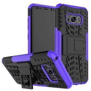 Противоударный двухкомпонентный силиконовый матовый непрозрачный чехол с поликарбонатными вставками экстрим защиты с встроенной ножкой-подставкой и текстурным покрытием Шина для Samsung Galaxy S8 Синий