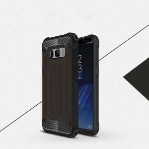 Двухкомпонентный силиконовый матовый непрозрачный чехол с поликарбонатными бампером и крышкой для Samsung Galaxy S8 Черный