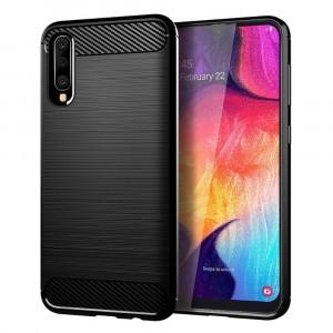 Силиконовый матовый непрозрачный чехол с текстурным покрытием Металлик для Samsung Galaxy A50  Черный