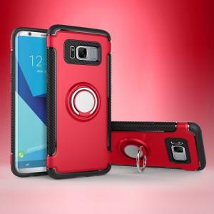Двухкомпонентный силиконовый матовый непрозрачный чехол с поликарбонатными бампером и крышкой, встроенной ножкой-подставкой и текстурным покрытием Карбон для Samsung Galaxy S8 Красный