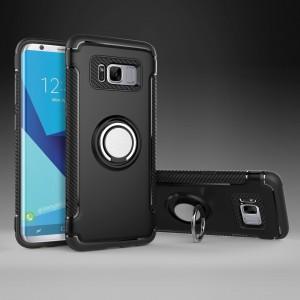 Двухкомпонентный силиконовый матовый непрозрачный чехол с поликарбонатными бампером и крышкой, встроенной ножкой-подставкой и текстурным покрытием Карбон для Samsung Galaxy S8 Черный