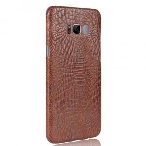 Чехол накладка текстурная отделка Кожа Крокодила для Samsung Galaxy S8 Коричневый
