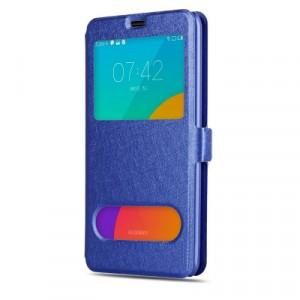 Чехол флип подставка текстура Золото на пластиковой основе с окном вызова и полоcой свайпа на магнитной защелке для Meizu MX5 Синий
