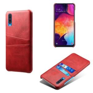 Чехол накладка текстурная отделка Кожа с отсеком для карт для Samsung Galaxy A50  Красный