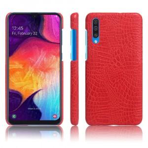 Пластиковый непрозрачный матовый чехол с текстурным покрытием Крокодил для Samsung Galaxy A50 Красный