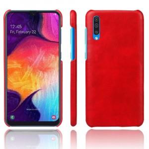 Чехол накладка текстурная отделка Кожа для Samsung Galaxy A50  Красный