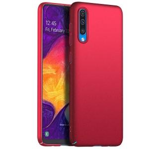 Пластиковый непрозрачный матовый чехол с улучшенной защитой элементов корпуса для Samsung Galaxy A50  Красный