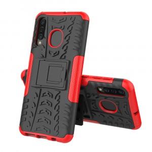 Противоударный двухкомпонентный силиконовый матовый непрозрачный чехол с нескользящими гранями и поликарбонатными вставками экстрим защиты с встроенной ножкой-подставкой для Samsung Galaxy A50/A30/A20 Красный