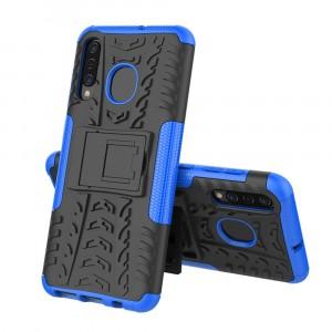 Противоударный двухкомпонентный силиконовый матовый непрозрачный чехол с нескользящими гранями и поликарбонатными вставками экстрим защиты с встроенной ножкой-подставкой для Samsung Galaxy A50/A30/A20 Синий