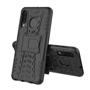 Противоударный двухкомпонентный силиконовый матовый непрозрачный чехол с нескользящими гранями и поликарбонатными вставками экстрим защиты с встроенной ножкой-подставкой для Samsung Galaxy A50/A30/A20 Черный