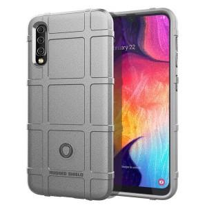 Силиконовый матовый непрозрачный чехол с текстурным покрытием Клетка для Samsung Galaxy A50  Серый