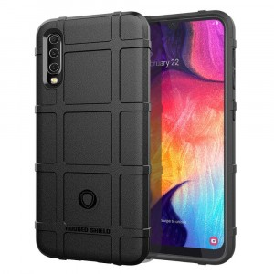 Силиконовый матовый непрозрачный чехол с текстурным покрытием Клетка для Samsung Galaxy A50  Черный