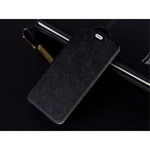 Чехол флип подставка текстура Линии на силиконовой основе для Iphone 6/6s Черный