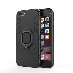 Противоударный двухкомпонентный силиконовый матовый непрозрачный чехол с поликарбонатными вставками экстрим защиты с встроенным кольцом-подставкой для Iphone 7/8 Черный