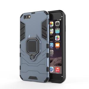 Противоударный двухкомпонентный силиконовый матовый непрозрачный чехол с поликарбонатными вставками экстрим защиты с встроенным кольцом-подставкой для Iphone 7/8 Синий