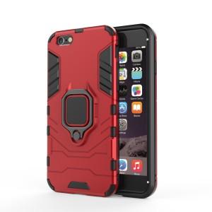 Противоударный двухкомпонентный силиконовый матовый непрозрачный чехол с поликарбонатными вставками экстрим защиты с встроенным кольцом-подставкой для Iphone 7/8 Красный