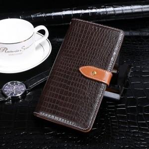 Чехол портмоне подставка текстура Крокодил на силиконовой основе с отсеком для карт на крепежной застежке для Samsung Galaxy S9 Plus Коричневый
