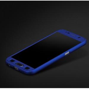 Двухкомпонентный сборный пластиковый матовый чехол для Samsung Galaxy S7 Edge Синий