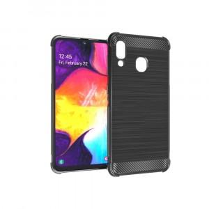 Силиконовый матовый непрозрачный чехол с усиленными углами с текстурным покрытием Металлик для Samsung Galaxy A20/A30 Черный