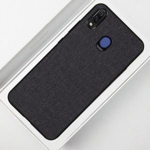 Силиконовый матовый непрозрачный чехол с текстурным покрытием Ткань для Samsung Galaxy A20/A30 Черный