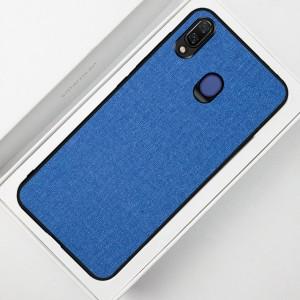Силиконовый матовый непрозрачный чехол с текстурным покрытием Ткань для Samsung Galaxy A20/A30 Синий