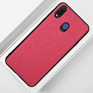 Силиконовый матовый непрозрачный чехол с текстурным покрытием Ткань для Samsung Galaxy A20/A30 Красный