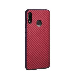 Силиконовый матовый непрозрачный чехол с текстурным покрытием Карбон для Samsung Galaxy A20/A30 Красный