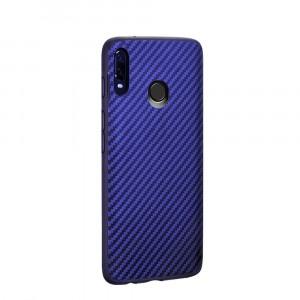 Силиконовый матовый непрозрачный чехол с текстурным покрытием Карбон для Samsung Galaxy A20/A30 Синий
