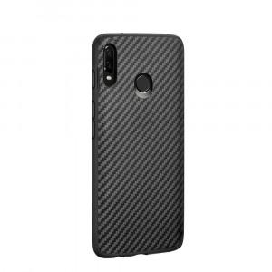 Силиконовый матовый непрозрачный чехол с текстурным покрытием Карбон для Samsung Galaxy A20/A30 Черный