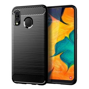 Силиконовый матовый непрозрачный чехол с текстурным покрытием Металлик для Samsung Galaxy A20/A30 Черный