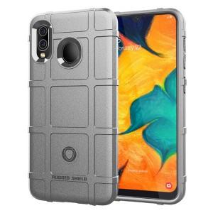 Силиконовый матовый непрозрачный чехол с текстурным покрытием Клетка для Samsung Galaxy A20/A30 Серый