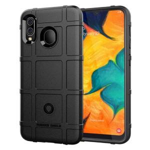 Силиконовый матовый непрозрачный чехол с текстурным покрытием Клетка для Samsung Galaxy A20/A30 Черный
