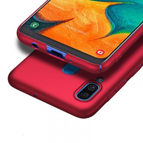 Пластиковый непрозрачный матовый чехол с улучшенной защитой элементов корпуса для Samsung Galaxy A20/A30 Черный