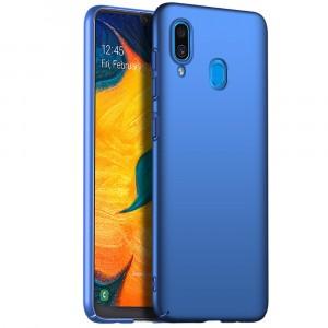 Пластиковый непрозрачный матовый чехол с улучшенной защитой элементов корпуса для Samsung Galaxy A20/A30 Синий
