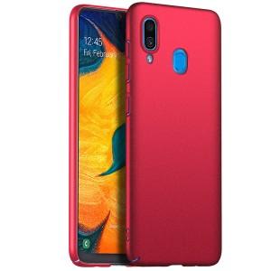Пластиковый непрозрачный матовый чехол с улучшенной защитой элементов корпуса для Samsung Galaxy A20/A30 Красный